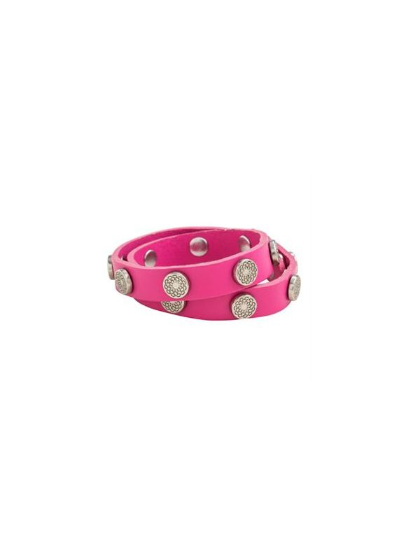 Fuchsia Leather Wrap with Silver Studs