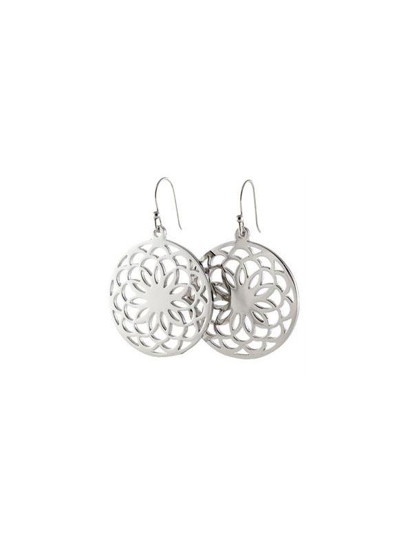 Silver Flower Screen Earrings